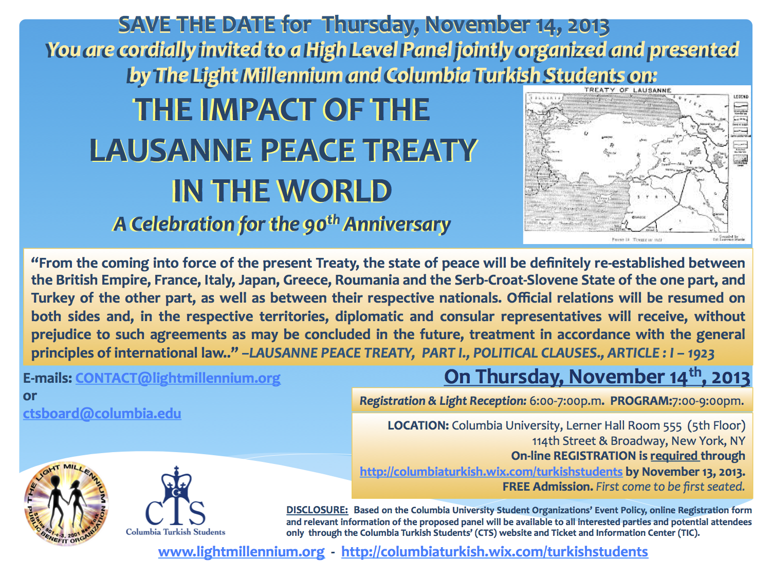 Save the Date - The Impact of the Lausanne Peace Treaty
