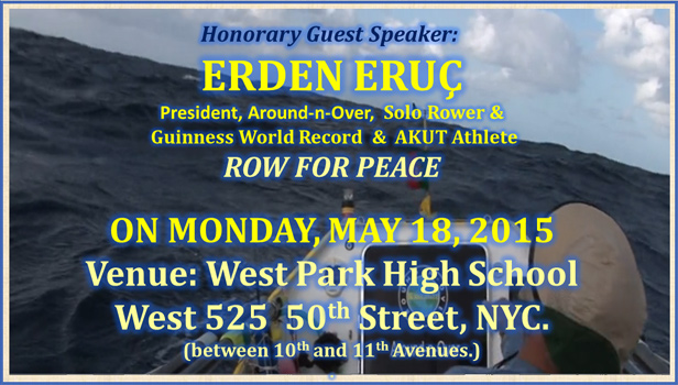 ERDEN ERUC ROW FOR PEACE FROM NEW YORK TO GALLIPOLI