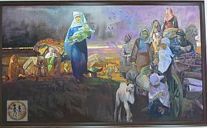 woman-w-baby-nd-people-are-on-a-carriage-kasteev-state-museum-of-arts-s